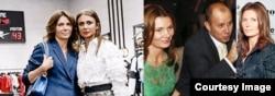 Слева: Жанна Бендерская и Алена Бендерская на открытии бутика Plein Sport, в центре: Жанна Бендерская и Эдуард Бендерский, справа: Жанна Бендерская