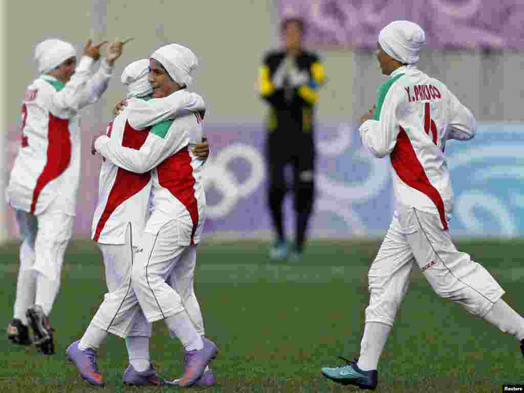 Players of Iran's girls' soccer team were only allowed to play in the Singapore Youth Olympics in August 2010 after reaching a deal to wear special hats instead of head scarves.
