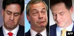 Тройка неудачников: лидеры британских партий, потерпевших поражение на майских выборах: слева направо – Эд Милибэнд (лейбористы), Найджел Фарадж (UKIP), Ник Клегг (либерал-демократы)