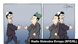 Karikatura Predraga Koraksića Coraxa - Hašim Tači i Ivica Dačić