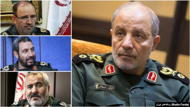 """The commander of IRGC's second regional HQ in the Northwest of Iran """"Ashoura"""", Mohammad Taghi Osanlou and his under command provincial IRGC commanders Abedin Khorram (East Azarbaijan), Jalil Babazadeh (Ardabil), and Jahanbakhsh Karami (Zanjan)."""
