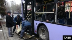 The scene following an explosion at a public transport stop in the rebel-held Ukrainian city of Donetsk, January 22, 2015