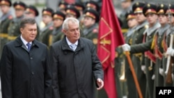 Ukrainian President Viktor Yanukovych (left) and Czech counterpart Milos Zeman walk in front of the guard of honor during a ceremony in Kyiv in October.