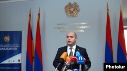 Armenia - Education Minister Armen Ashotyan at a news conference in Yerevan.