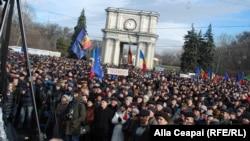 Акция протеста в Кишиневе, 14 января 2016 года.