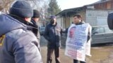 Kazakhstan - Baybolat Kunbolatuly is standing in front of the Chinese embassy. Almaty, 7 February 2020
