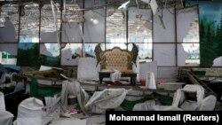 قسمتی از تالار عروسی در هتل «شهر دبی» کابل پس از وقوع انفجار