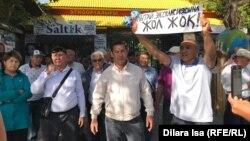 Акция солидарности с участниками выступлений в городе Жанаозене «против совместных с Китаем проектов». Шымкент, 5 сентября 2019 года.