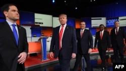 از چپ: روبیو، ترامپ، کروز، کارسون و بوش