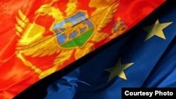 Zastave Crne Gore i EU - ilustracija