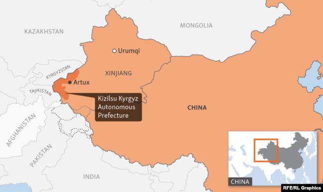 Image result for Kyrgyzstan, China,Xinjiang , map