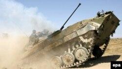 რუსეთის ტანკი გორის მახლობლად. 2008 წლის 19 აგვისტო.