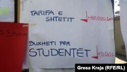Pankartë nga protestat e studentëve në Tiranë