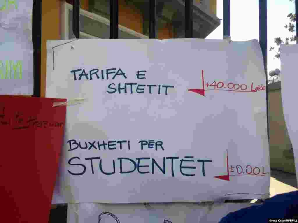 Tarifat vjetore për studentët në universitetet shtetërore të Shqipërisë, varirojnë nga 25 mijë lekë (rreth 200 euro) deri në 40 mijë lekë (rreth 325 euro) në ciklin e parë të studimeve (bachelor). Ndërsa, për ciklin e dytë të studimeve, sipas profilit që ndjekin, tarifat varirojnë nga 63 mijë (rreth 510 euro) deri në 204 mijë lekë (rreth 1,600 euro).