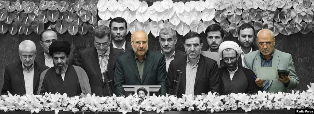 محمدباقر قالیباف و حسینعلی حاجیدلیگانی در مراسم سوگند هیئت رئیسه مجلس