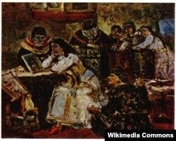 Василий Суриков. Царевна Ксения Годунова у портрета умершего жениха королевича. Эскиз ненаписанной картины. 1881
