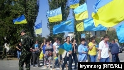 Учасники блокади Криму поблизу пункту пропуску «Чонгар»