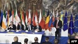 Еуропа Одағы лидерлері Рим декларациясының 60 жылдығын атап өтті. Рим, 25 наурыз 2017 жыл.