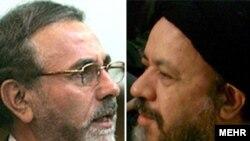 محمد ستاریفر (چپ) و صدرالدین شریعتی، رئیس دانشگاه علامه