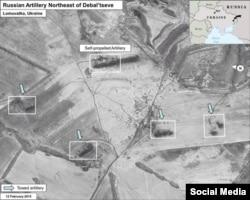 Ukraine -- Russian Missiles in Debaltsevo Ukraine - air photo shooting