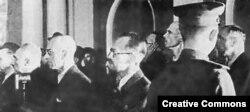 Руководители польского подполья, в том числе АК, на судебном процессе в Москве, 1945 год