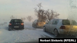 Drivers trying to brave the snowstorm in Vojvodina on January 31.