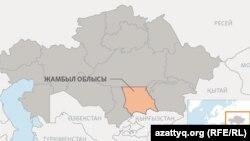 Жамбыл облысының аумағы көрсетілген Қазақстан картасы.
