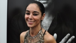 Shirin Neshat at the opening of her new exhibition in New York.