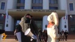Protest cu schiuri la Chișinău