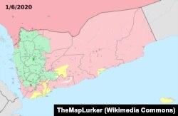 """Йемендеги кырдаалдын картасы. 01.6.2020. Мында: жашыл түс: шийилерден болгон хусийлер кыймылы көзөмөлдөгөн аймак; кызыл түс: президент Хадинин дүйнөдө расмий таанылган бийлигинин аймагы; сары түс: түштүк йемендик жикчилердин Түштүк Убактылуу Кеңеш уюму бийлеген аймак; ак түс: """"ал-Кайида"""" террордук тармагына кирген """"Ансар ал-шарийа"""" тобу көзөмөлдөгөн аймак; кара түс: """"Ислам мамлекети"""" террордук уюму көзөмөлдөгөн аймак."""