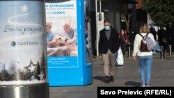 Црна Гора.Луѓе со заштитни маски. Ковид 19