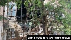 Обрушение части здания в Симферополе, август 2021 года