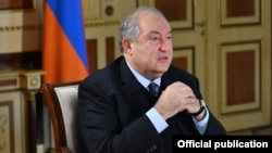 Armenia - President Armen Sarkissian at a meeting in Yerevan, March 26, 2021.