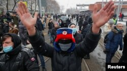 Protesters take to the streets in Moscow on January 31 in support of jailed Russian opposition leader Aleksei Navalny.