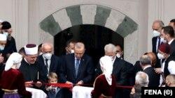 Erdogan je svečano otvorio džamiju imama Havadže Duraka, poznatu kao Baščaršijska džamija, koju je restaurirala Generalna direkcija vakufa Republike Turske, Sarajevo (27. avgust 2021.)
