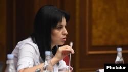 Armenia - Aregnaz Manukian of the opposition Hayastan alliance speaks during a session of the National Assembly, Yerevan, September 13, 2021.