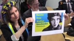 Протест українців на конференції «друзів Путіна» у Брюсселі