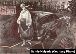 Another Kolyada drawing, this time depicting Kateryna by a vehicle with SexTour.com.ua emblazoned on its side.