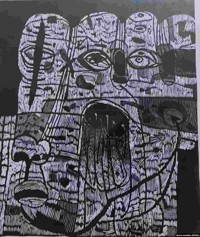 """А.Р. Терегуловдун """"Менин атым- 12""""аттуу эмгеги, Линогравюра, 2010"""