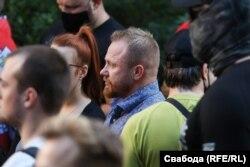 Сяргей Кароткіх падчас акцыі памяці Віталя Шышова ў Кіеве, 3 жніўня 2021
