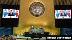 Кыргызстандын президенти Сооронбай Жээнбеков 23-сентябрда Бириккен Улуттар Уюмунун (БУУ) Башкы Ассамблеясынын 75-сессиясында кайрылуу жасады.