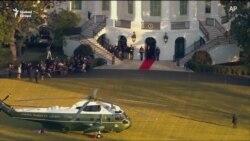 Trump utoljára hagyta el a Fehér Házat elnökként - videó