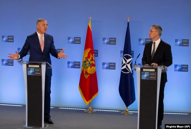 Presidenti malazez, Millo Gjukanoviq dhe Sekretari i NATO-s, Jens Stoltenberg. Bruksel, 18 maj,, 2021.