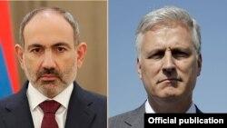 Armenia/USA - Nikol Pashinian, Prime Minister of Armenia, and Robert O'Brien, United States National Security Advisor, combo photo, Undated