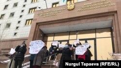Многодетные матери протестуют против законопроекта «О домашнем насилии». Нур-Султан, 25 января 2021 года.