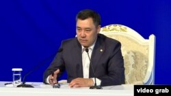 """""""It doesn't matter who wins the [presidential poll] -- me or somebody else after me. The Kyrgyz nation will not allow a dictatorship,"""" acting President Sadyr Japarov said."""
