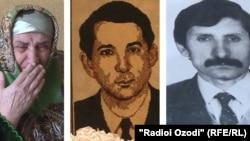 На первом фото: Хосият Шералиева рассказывает о своем покойном муже Муродулло Шерализода. На второй и третьей фотографиях: Муродулло Шерализода и Хушвахтшо Муборакшоев, убитые во время гражданской войны.