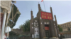 CHINA -- Jama Mosque adorned with China's flag and propaganda banners that read 'Love the Party, Love the Country' in Kashgar prefecture's Kargilik county, in an undated photo.