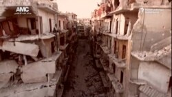 په حلب کې د ډرون فلمبندي پراخ ویجاړی ښيي