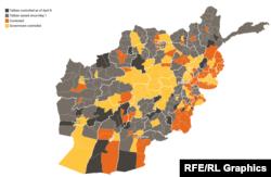 Tálibok ellenőrizte vidékek Afganisztánban. Sötét színek: tálib kézben. Narancs: harcok folynak érte. Sárga: a kormány ellenőrzi